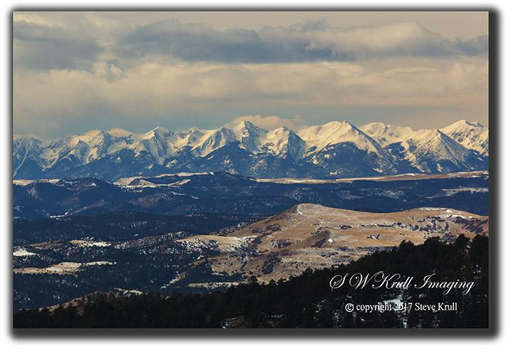 Sangre de Cristo Mountain Range on a bitterly cold Colorado winter morning.