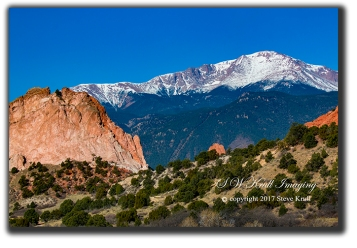 Garden of the Gods Spring with snow capped Pikes Peak