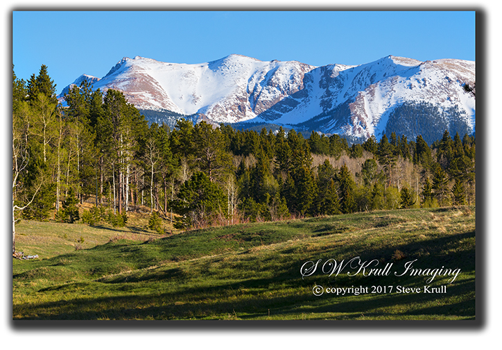 Snow capped Pikes Peak Colorado
