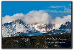 Storm clouds receding from Pikes Peak Colorado