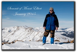 Steve Krull at the summit of Mount Elbert Colorado in January 2015