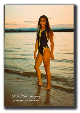 Swimsuit model at sunset