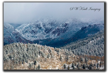Pikes Peak in Fog and Snow