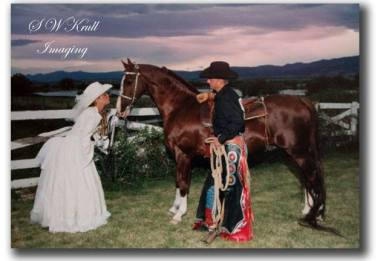 Western wedding couple with horse