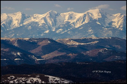 Sunrise on the Sangre de Cristo Mountain Range of Colorado in winter