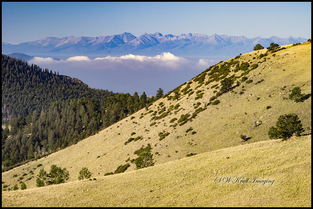 Fog bank on the Sangre de Cristo Range of Colorado